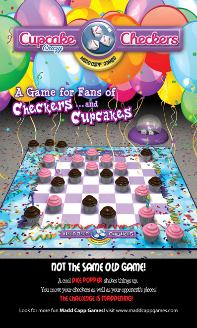 trade show banner for cupcake themed checkers