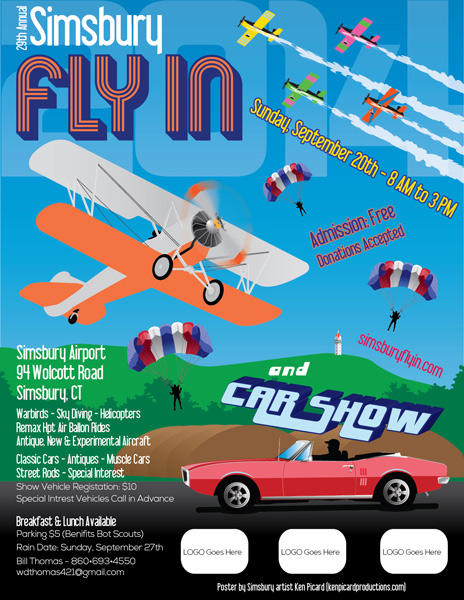 Simsbury fly in poster